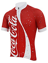 cheap -21Grams Men's Short Sleeve Cycling Jersey Winter 100% Polyester Red and White Bike Jersey Top Mountain Bike MTB Road Bike Cycling UV Resistant Breathable Quick Dry Sports Clothing Apparel / Stretchy