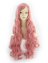 cheap -Synthetic Wig Curly Asymmetrical Wig Long Pink Synthetic Hair 31 inch Women's Best Quality Black
