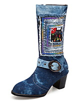 cheap -Women's Boots Chunky Heel Round Toe Denim Mid-Calf Boots Fall & Winter Blue / Beige