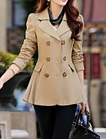 cheap -Women's Daily Fall & Winter Long Coat, Solid Colored Turndown Long Sleeve Polyester Black / Wine / Blushing Pink