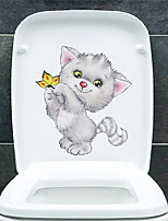 cheap -Cute Cat Toilet Stickers - Animal Wall Stickers Animals Bathroom / Kids Room