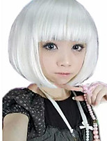cheap -Synthetic Wig kinky Straight Bob Neat Bang Wig Short White Synthetic Hair 13 inch Women's Best Quality White