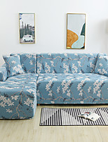 cheap -Blue Floral Print Dustproof All-powerful Slipcovers Stretch L Shape Sofa Cover Super Soft Fabric Couch Cover with One Free Pillow Case