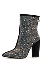 cheap -Women's Boots Chunky Heel Pointed Toe PU Winter Black