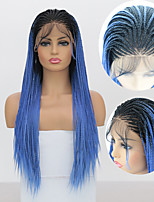 cheap -Synthetic Lace Front Wig Box Braids with Baby Hair Lace Front Wig Long Black / Sapphire Blue Synthetic Hair 18-24 inch Women's Braided Wig African Braids African Braiding Ombre