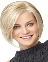 cheap -Synthetic Wig Straight kinky Straight Asymmetrical Wig Short Blonde Synthetic Hair 4 inch Women's Best Quality Blonde