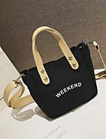 cheap -Women's Zipper Canvas Top Handle Bag Solid Color Black / Orange / Yellow