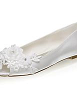 cheap -Women's Wedding Shoes Flat Heel Peep Toe Satin Flower Satin Sweet Spring & Summer / Fall & Winter Ivory