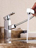 cheap -Bathroom Sink Faucet - Standard / Pullout Spray Electroplated Free Standing Single Handle One HoleBath Taps