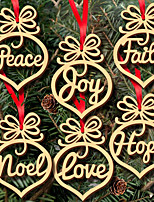 abordables -Décoration d'arbre de Noël En bois 6pcs Regalos de Navidad