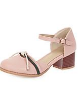 cheap -Women's Heels Chunky Heel Round Toe PU Casual / Sweet Spring & Summer Black / White / Pink