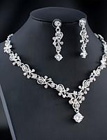 cheap -Women's White Cubic Zirconia Hoop Earrings Necklace Bridal Jewelry Sets Classic Drop Feather Pear Basic Korean Sweet Elegant 18K Gold Plated Rhinestone Imitation Diamond Earrings Jewelry Gold / Silver