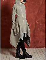 cheap -Women's Going out Spring &  Fall Regular Trench Coat, Solid Colored Hooded Long Sleeve Cotton Black / Gray