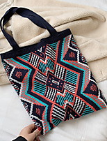 cheap -Women's Zipper Straw Top Handle Bag Geometric Pattern White / Blue