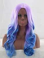 cheap -Synthetic Wig Curly Body Wave Asymmetrical Wig Long Purple / Blue Synthetic Hair 27 inch Women's Color Gradient Best Quality Blue