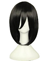 cheap -Synthetic Wig kinky Straight Asymmetrical Wig Medium Length Natural Black Synthetic Hair 15 inch Women's Best Quality Black