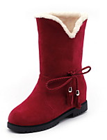 cheap -Women's Boots Flat Heel Round Toe Suede Booties / Ankle Boots Fall & Winter Black / Brown / Red