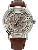 cheap -Men's Mechanical Watch Japanese Automatic self-winding PU Leather Black / Brown / Chocolate Chronograph Hollow Engraving Creative Analog New Arrival Skeleton - Black Brown Gold Two Years Battery Life