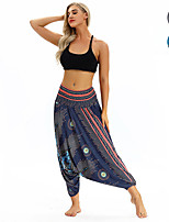 cheap -Women's Yoga Pants Winter Harem Floral Print Dark Blue Light Blue Dance Fitness Gym Workout Bottoms Sport Activewear Lightweight Breathable Quick Dry Soft Stretchy Loose