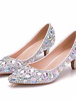cheap -Women's Wedding Shoes Low Heel Pointed Toe Rhinestone / Crystal / Sparkling Glitter PU Vintage / Minimalism Spring &  Fall / Spring & Summer Silver / Rainbow