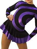 cheap -Figure Skating Dress Women's Girls' Ice Skating Dress Purple Spandex High Elasticity Training Competition Skating Wear Handmade Patchwork Long Sleeve Ice Skating Figure Skating