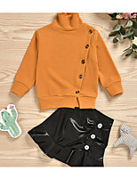 cheap -Kids Girls' Basic Solid Colored Long Sleeve Clothing Set Orange