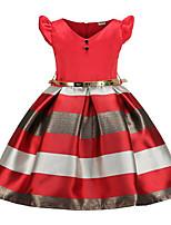 cheap -Toddler Girls' Geometric Short Sleeve Above Knee Dress Blue
