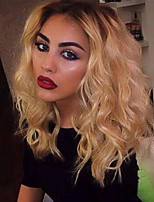 cheap -Synthetic Wig Curly Asymmetrical Wig Medium Length Ombre Blonde Synthetic Hair 16 inch Women's Best Quality Blonde Ombre