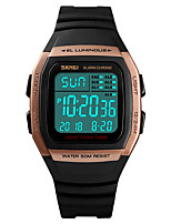 cheap -Men's Sport Watch Digital Stylish Stainless Steel PU Leather Black 30 m Water Resistant / Waterproof Chronograph Alarm Clock Digital Casual Outdoor - Black Rose Gold Green Two Years Battery Life
