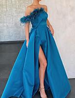 cheap -A-Line Off Shoulder Sweep / Brush Train Velvet Elegant Engagement / Formal Evening Dress 2020 with Split Front / Tassel / Pleats