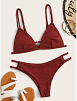 cheap -Women's Basic Wine Halter Cheeky Tankini Swimwear - Solid Colored Backless Bow S M L Wine