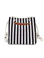 cheap -Women's Zipper Canvas Top Handle Bag Striped Black
