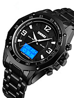 cheap -SKMEI Men's Digital Watch Digital Sporty Stainless Steel Black / Silver 30 m Water Resistant / Waterproof Calendar / date / day Chronograph Analog - Digital Outdoor - Black Silver Two Years Battery