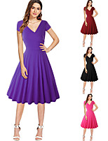 cheap -The Marvelous Mrs. Maisel Retro Vintage 1950s Wasp-Waisted Dress Women's Spandex Costume Black / Sky Blue / Purple Vintage Cosplay Party Daily Wear Short Sleeve Knee Length