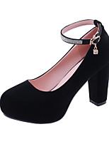 cheap -Women's Heels Chunky Heel Round Toe Rhinestone / Buckle Suede Minimalism Spring & Summer Black / Red / Blue