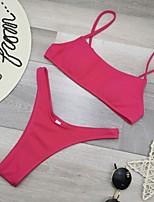 cheap -Women's Basic Fuchsia Yellow Red Triangle Cheeky Bikini Swimwear - Leopard Solid Colored Backless S M L Fuchsia