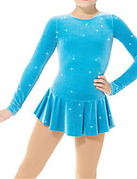cheap -Figure Skating Dress Women's Girls' Ice Skating Dress Blue Spandex High Elasticity Training Competition Skating Wear Handmade Patchwork Crystal / Rhinestone Long Sleeve Ice Skating Figure Skating