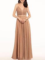 cheap -A-Line Spaghetti Strap Floor Length Polyester Elegant Prom / Formal Evening Dress 2020 with Pleats