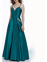 cheap -A-Line Spaghetti Strap Floor Length Satin Open Back Prom / Formal Evening Dress 2020 with Appliques / Pleats