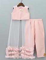 cheap -Kids Girls' Basic Striped Sleeveless Clothing Set Blushing Pink