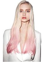 abordables -Perruque Synthétique Bouclé Coupe Asymétrique Perruque Long Rose Dorée Cheveux Synthétiques 27 pouce Femme Meilleure qualité Blond Rose
