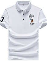 cheap -Men's Daily Wear Chinoiserie Polo - Solid Colored Embroidered White