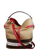 cheap -Women's Zipper Canvas Top Handle Bag Black / Brown