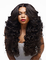 cheap -Synthetic Wig Curly Asymmetrical Wig Long Natural Black Synthetic Hair 27 inch Women's Best Quality Black