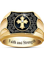 cheap -Men's Ring 1pc Gold Gold Plated Geometric Fashion Daily Holiday Jewelry Geometrical Cross Cool