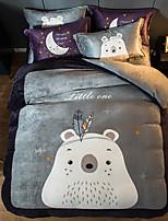 cheap -Baby Bear Cartoon Flannel Duvet Cover Set Queen Bedding Cover Set Boys Girls Duvet Comforter Cover Set Luxury Soft Queen Duvet Cover Set