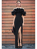cheap -A-Line Off Shoulder Floor Length Chiffon Furcal / Elegant Prom / Formal Evening / Wedding Guest Dress 2020 with Split Front / Cascading Ruffles