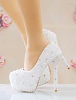cheap -Women's Wedding Shoes Stiletto Heel Round Toe Imitation Pearl / Sparkling Glitter PU Vintage / Minimalism Spring &  Fall / Spring & Summer White / Party & Evening