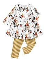 cheap -Baby Girls' Basic Striped / Floral Long Sleeve Regular Clothing Set Yellow