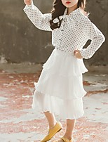cheap -Kids Girls' Basic Polka Dot Long Sleeve Clothing Set White